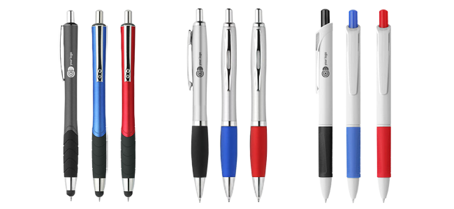 printed ballpoint pens various colours and styles
