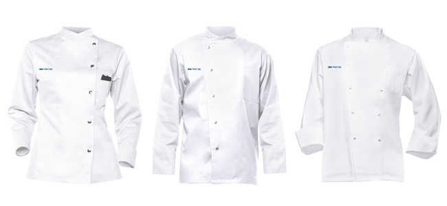 custom chef jackets classic black and white with logo motif printing