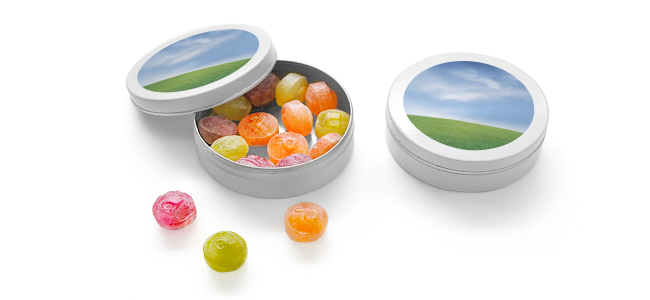 fruit drops containers printed with slogan on the lid