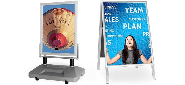 printing of a-boards printing for indoor and outdoors different sizes with posters fold away