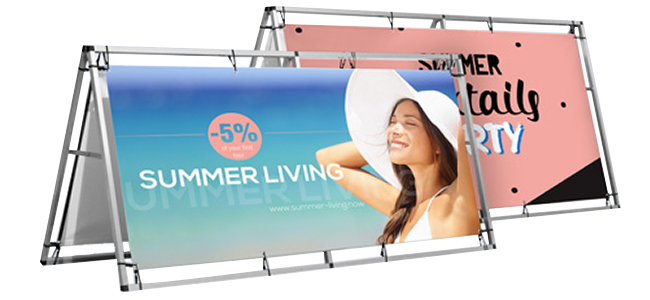 large vinyl banner printing with frames for trade shows, building signage or sporting events.