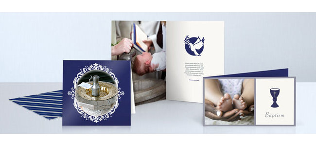 personalised printed christening cards in a variety of finishes and sizes