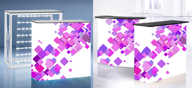 exhibition display counters flexible curved shape or straight printed with lights