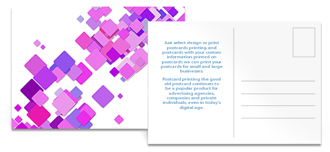 postcards printing front and back showing business and personal design printing